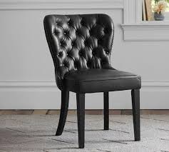 Scroll Back Leather Dining Chairs Black Leather Dining Chair Popular Tufted Intended For 16