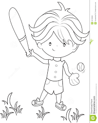 boy playing baseball coloring page stock illustration image