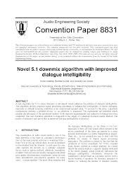 aes e library novel 5 1 downmix algorithm with improved dialogue