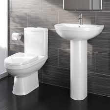 close coupled toilet and pedestal basin sink modern bathroom suite