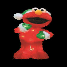 home depot lawn decorations sesame street 18 in pre lit led elmo with green santa hat and