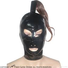 2017 black latex hoods with ponytail tube without wigs zipper