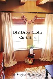 Diy Drop Cloth Curtains Easiest Drop Cloth Curtains Ever The Purple Hydrangea