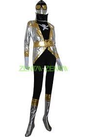 silver and black shiny metallic power ranger costume