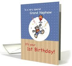 grand nephew 1st birthday with teddy bear u0026 balloon little boy card