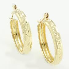 3 gram gold earrings 1980s vintage 14k yellow gold diamond cut 1 hoop earrings turkey