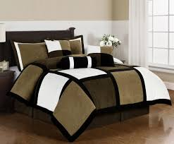 Tan And Black Comforter Sets Amazon Com Chezmoi Collection Micro Suede Patchwork 7 Piece