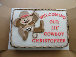 cowboy baby shower cake made to match the decorations vanilla cake