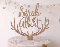 antler cake topper custom wedding cake topper personalized cake topper rustic