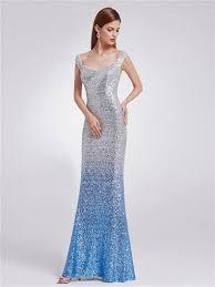 rosa silver blue ombre sequin long evening ballgown party dress uk
