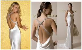 stunning low back wedding dress ties in back with full skirt by