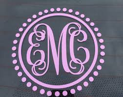 monogram letter stickers monogram car decal etsy