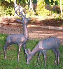 two large deer set of metal garden ornaments gardensite co uk