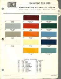 1963 chevy gm truck color chip paint sample brochure chart
