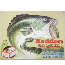 heddon fishing tackle bass bait tin sign vintage style decor