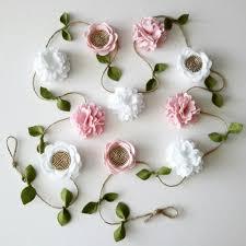white pink and gold flower garland nursery decor garden