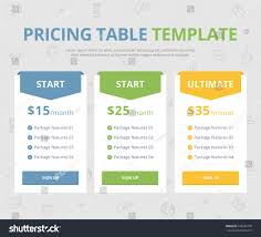 pricing table template three plan type stock vector 378246778