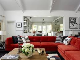 red couch living room fireplace living