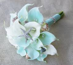Silk Calla Lilies Silk Flower Wedding Bouquet Aqua Mint Robbin U0027s Egg Calla Lilies
