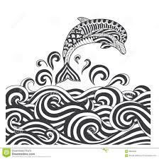vector zentangle dolphins in scrolling sea wave for coloring