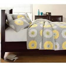 cozy line anya grey yellow floral print quilt set free shipping
