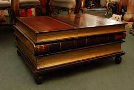 pleasing coffee table that looks like a stack of books with