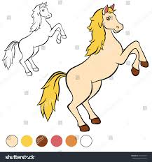 coloring page cute beautiful horse stands stock vector 414177919