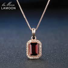 elegant pendant necklace images Lamoon ni053 elegant square red garnet pendant necklace 925 jpg