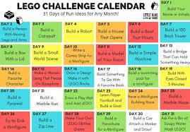 Of Challenge Lego Challenge Calendar Free Printable Lego Stem For