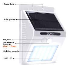 Solar Powered Motion Sensor Outdoor Light by Solar Light Zzsy 20 Led Solar Powered Motion Sensor Light Wireless