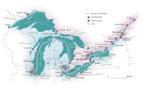 canadian map with great lakes of the great lakes canadian geographic