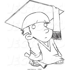 vector of a shy cartoon graduate boy coloring page outline
