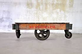 select modern industrial chic reclaimed wood railroad cart coffee