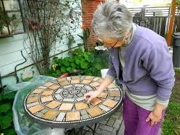 Patio Table Tile Top Small Mosaic Round Garden Table Build An Outdoor Table With Tile