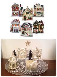diy christmas village dollar tree ceramic houses spray painted
