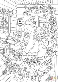 coloring pages of presents santa claus with christmas elves are choosing presents for