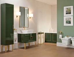 bathroom high vanity in forest green lacquer