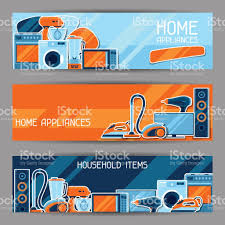 banners with home appliances household items for sale and shopping
