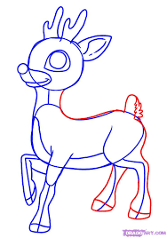 draw rudolph red nosed reindeer step 5 ideias