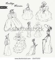 sketch woman retro clothes lady vintage stock vector 113232895