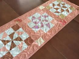quilted peach and cream table runner handmade peach and brown