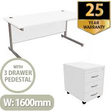 Office Desk Pedestal Drawers Office Desk Rectangular Silver Legs W1600mm With Mobile 3 Drawer