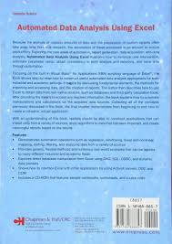 data analysis sample report automated data analysis using excel chapman hall crc data automated data analysis using excel chapman hall crc data mining and knowledge discovery series amazon co uk brian d bissett 9781584888857 books