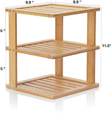 organizer for corner kitchen cabinet bamboo corner shelf 3 tier 10 x 10 inch and 11 5 inches high kitchen cabinet organizer pantry organization and storage bathroom countertop
