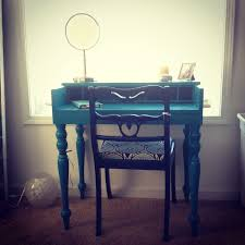 Diy Rustic Desk by Custom Diy Rustic Makeup Desk Made From Wood Painted With Blue