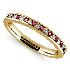 Ruby Wedding Rings by Pave Diamond U0026 Ruby Wedding Ring In Yellow Gold