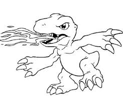 digimon agumon awesome fire breath coloring coloring sun