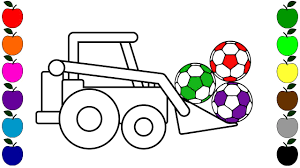colouring jcb and ball drawing for children coloring