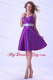 purple princess spaghetti straps silver belt bridesmaid dress
