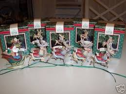 set of five hallmark ornaments santa and his